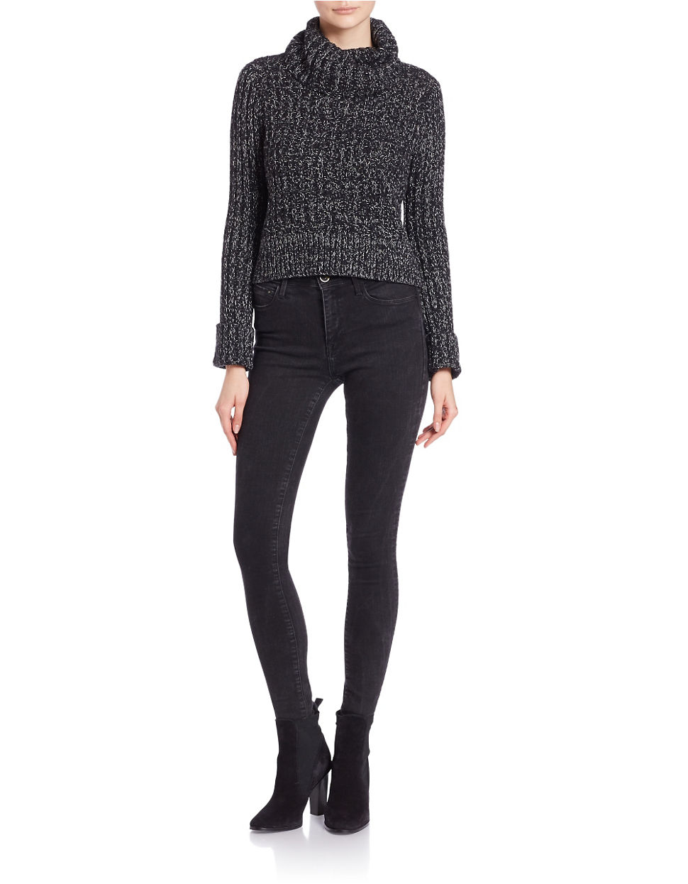 Free people Cropped Knit Turtleneck Sweater in Black | Lyst