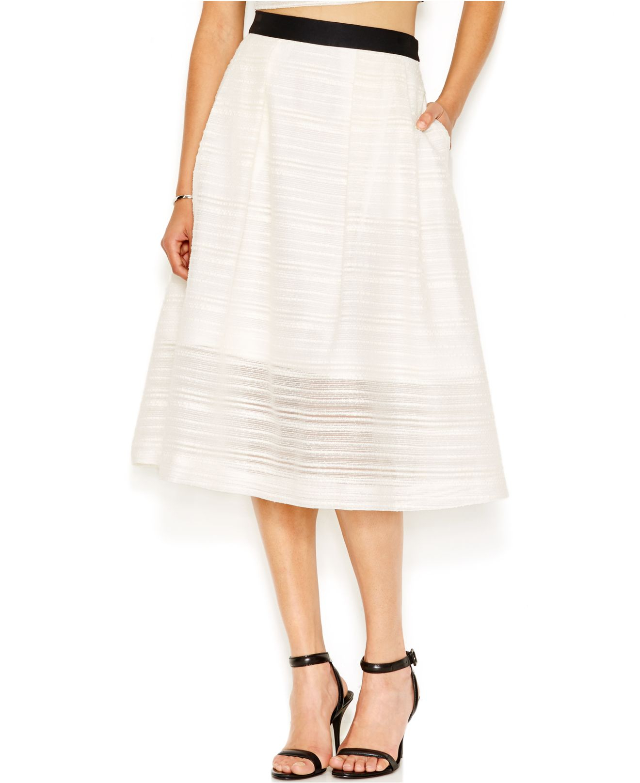 roy textured a line midi skirt in white lyst