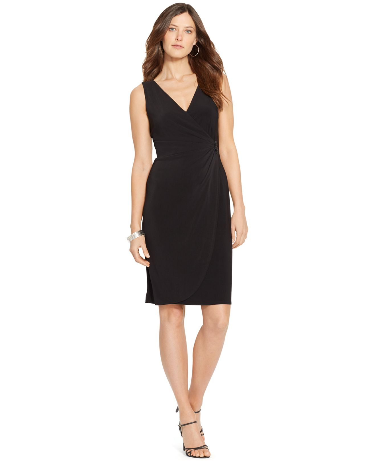 American Living Faux Wrap Surplice Dress In Black Save