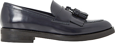 Dune Black Ginnie Pointed Toe Leather Tassel Loafer For