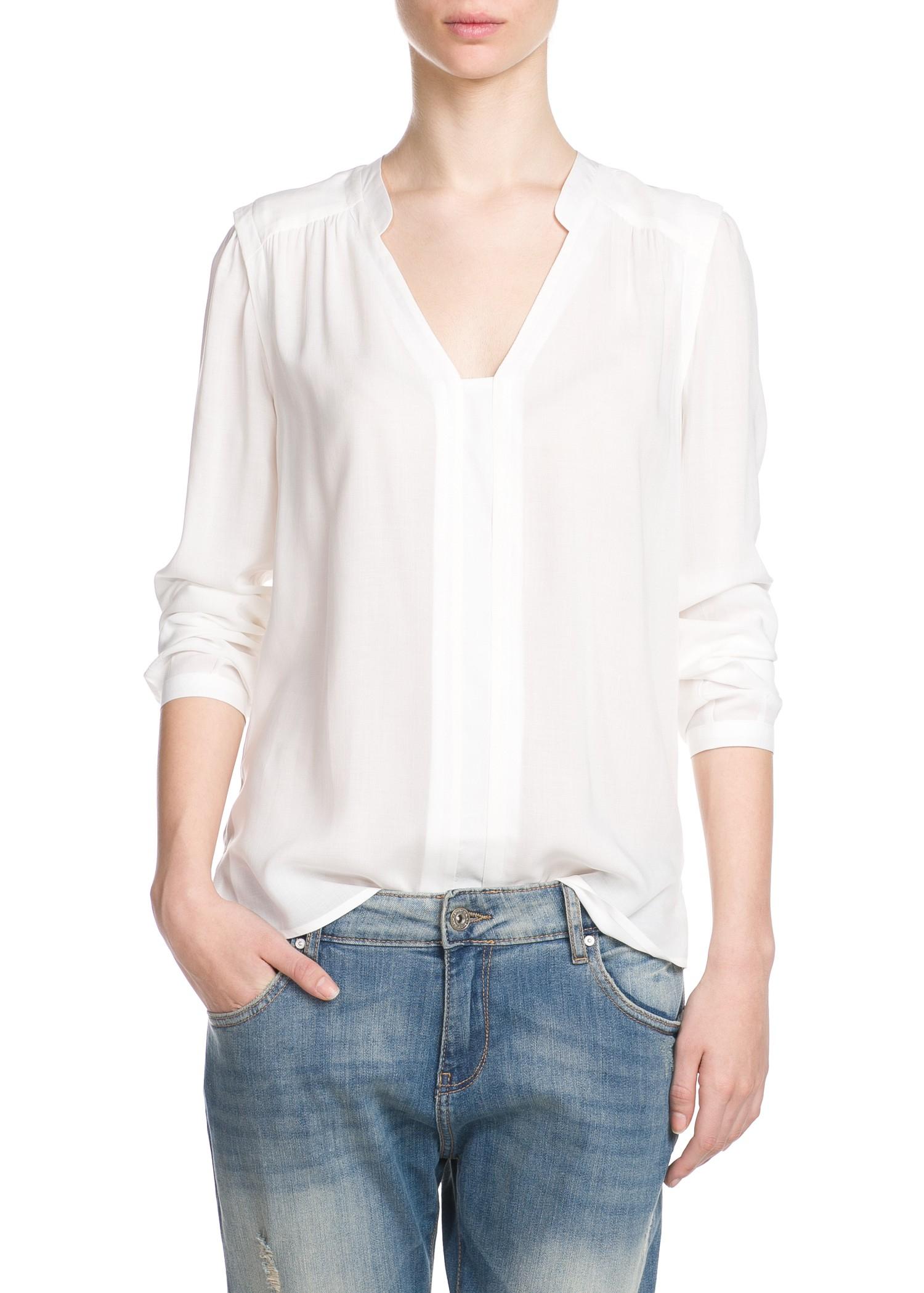 Mango Flowy Shirt in White | Lyst