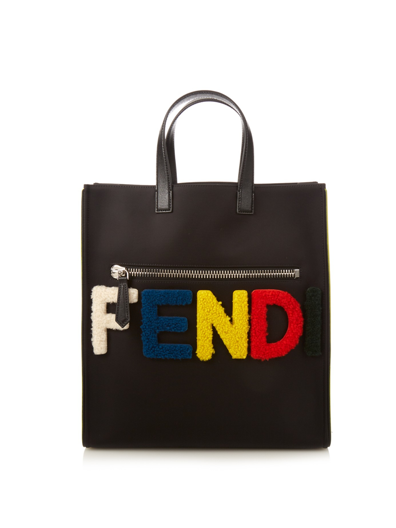 aaa3fe8566 Lyst - Fendi Furry Logo Nylon Tote in Black for Men