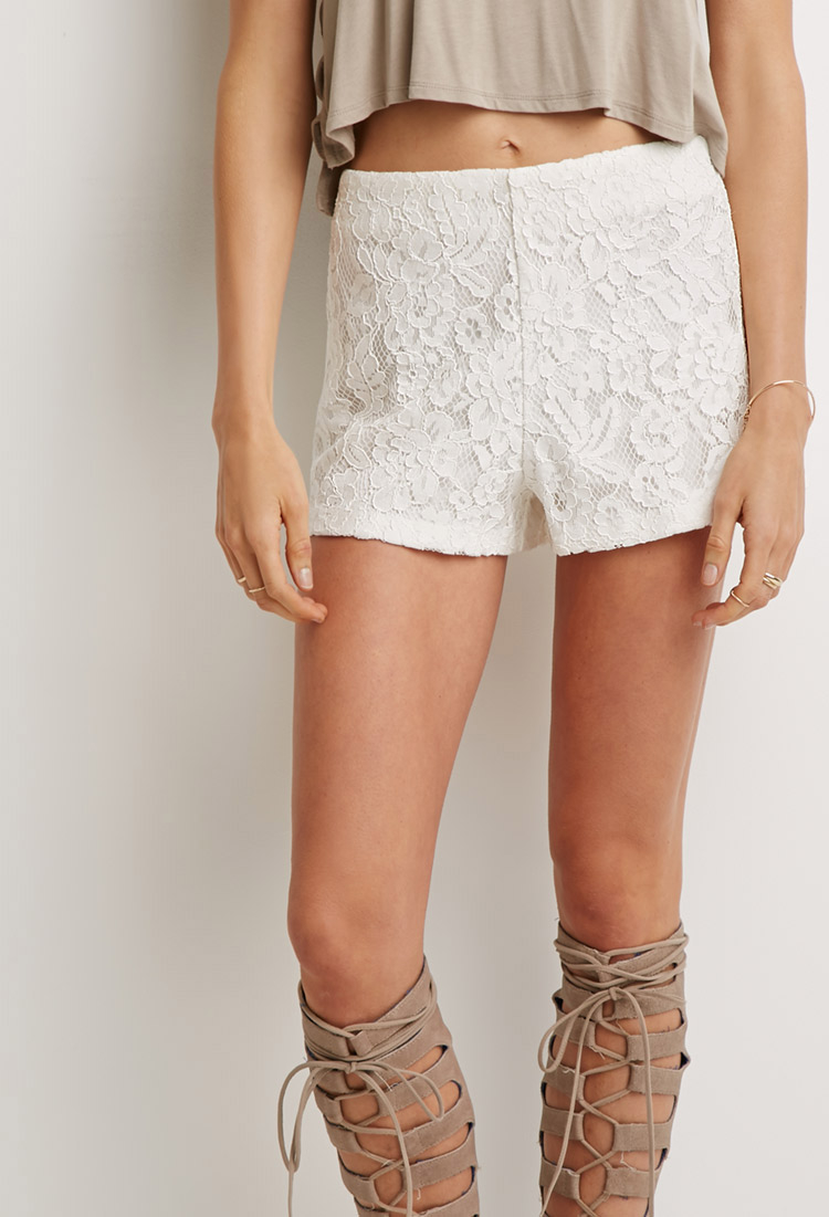 Lyst Forever 21 Floral Lace Shorts In Natural
