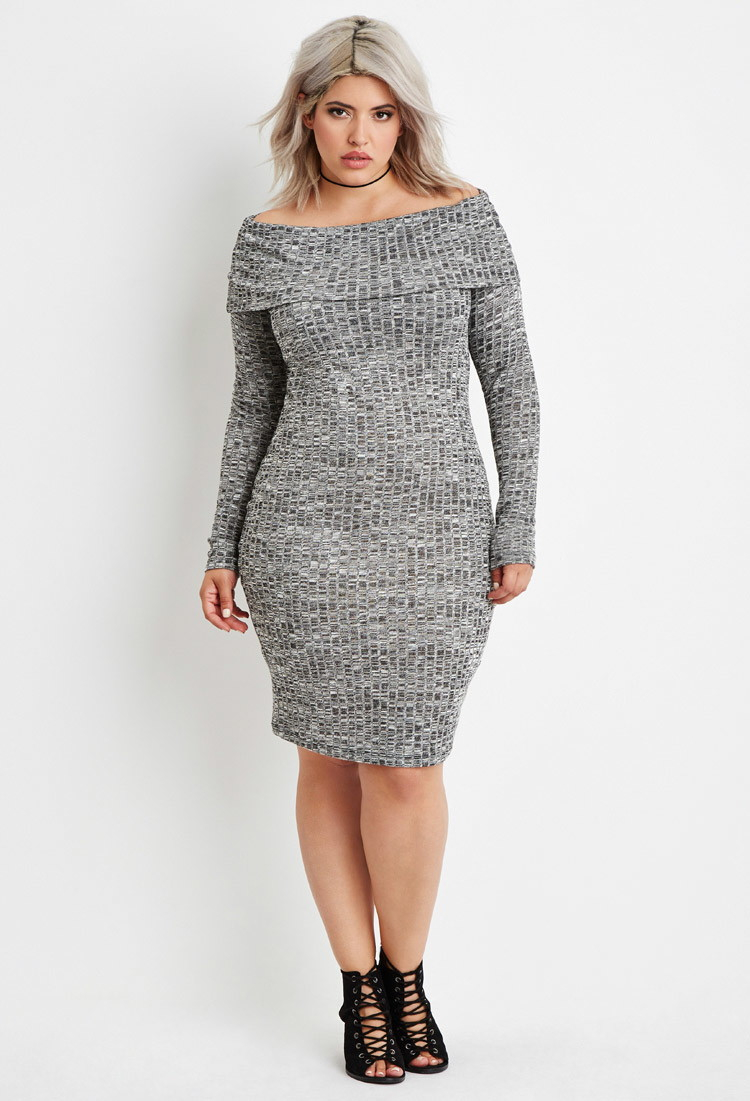 Plus Size Off-the-shoulder Sweater Dress