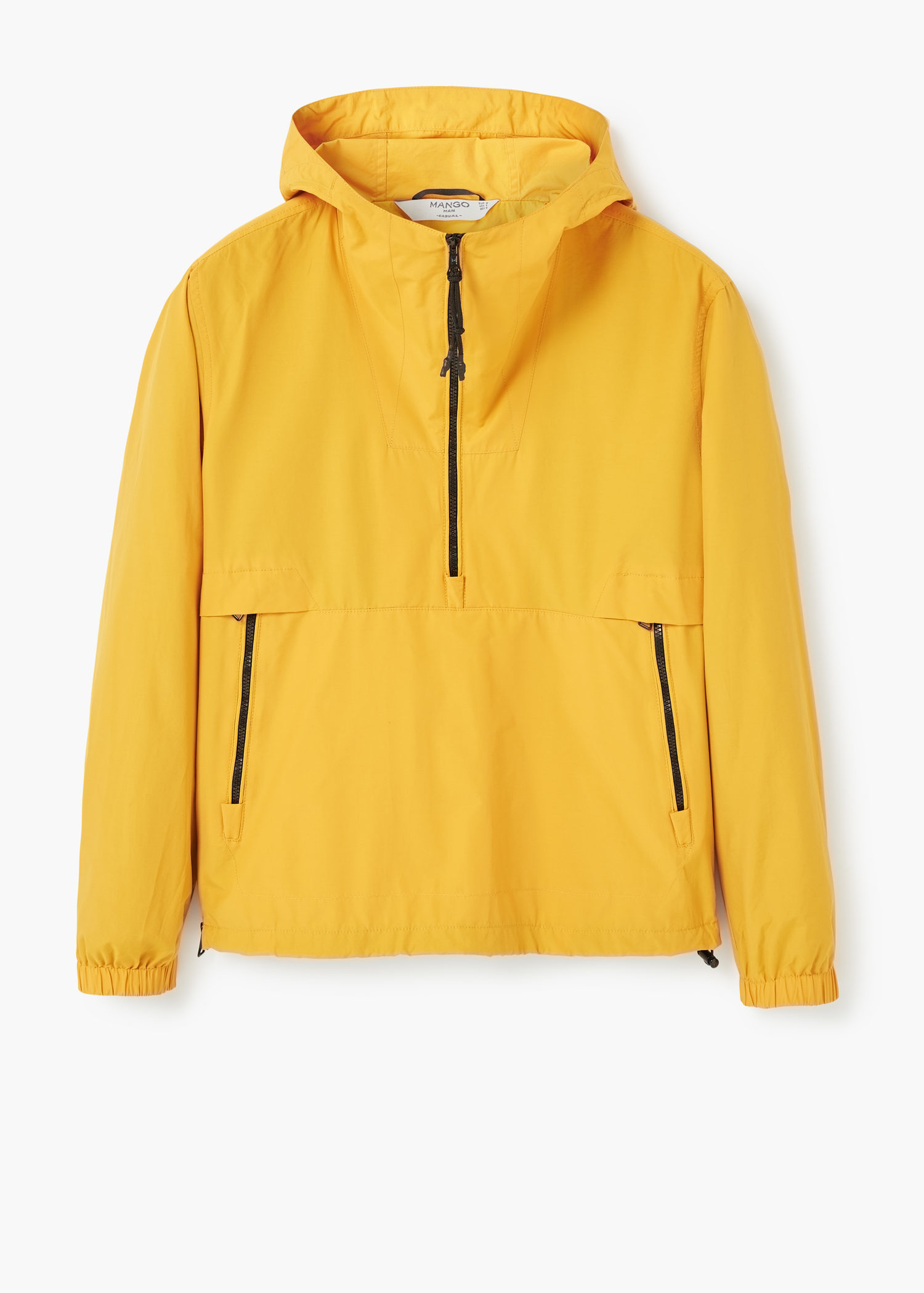 Lyst Mango Hooded Pouch Pocket Jacket In Yellow For Men