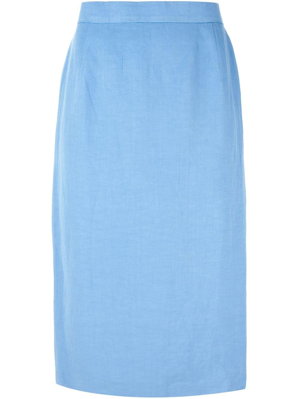 louis feraud vintage classic pencil skirt in blue lyst