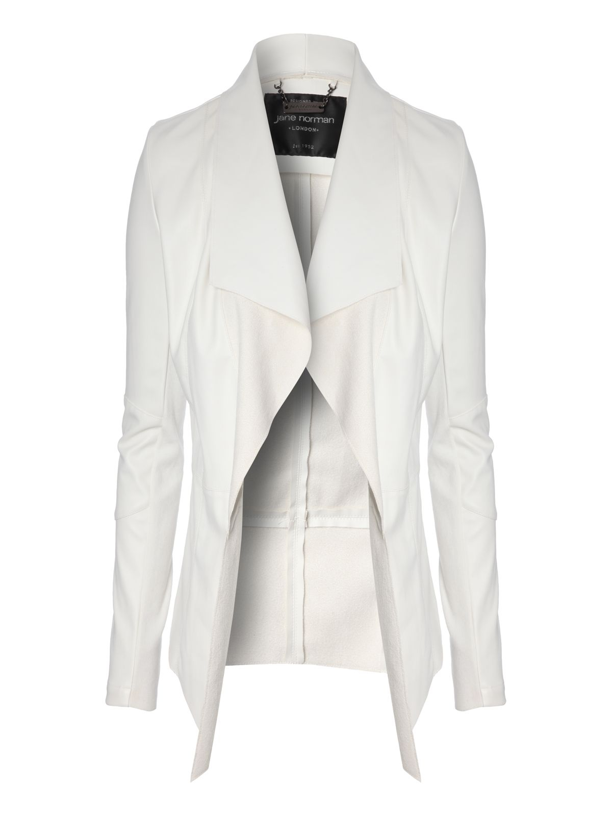 Jane norman Long Sleeve Pu Waterfall Jacket in White | Lyst