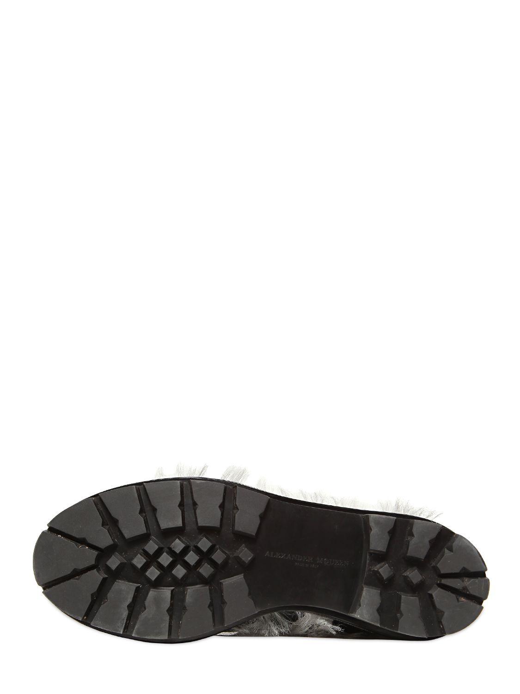 Alexander McQueen 40mm Calf Organza Velvet Boots in Black