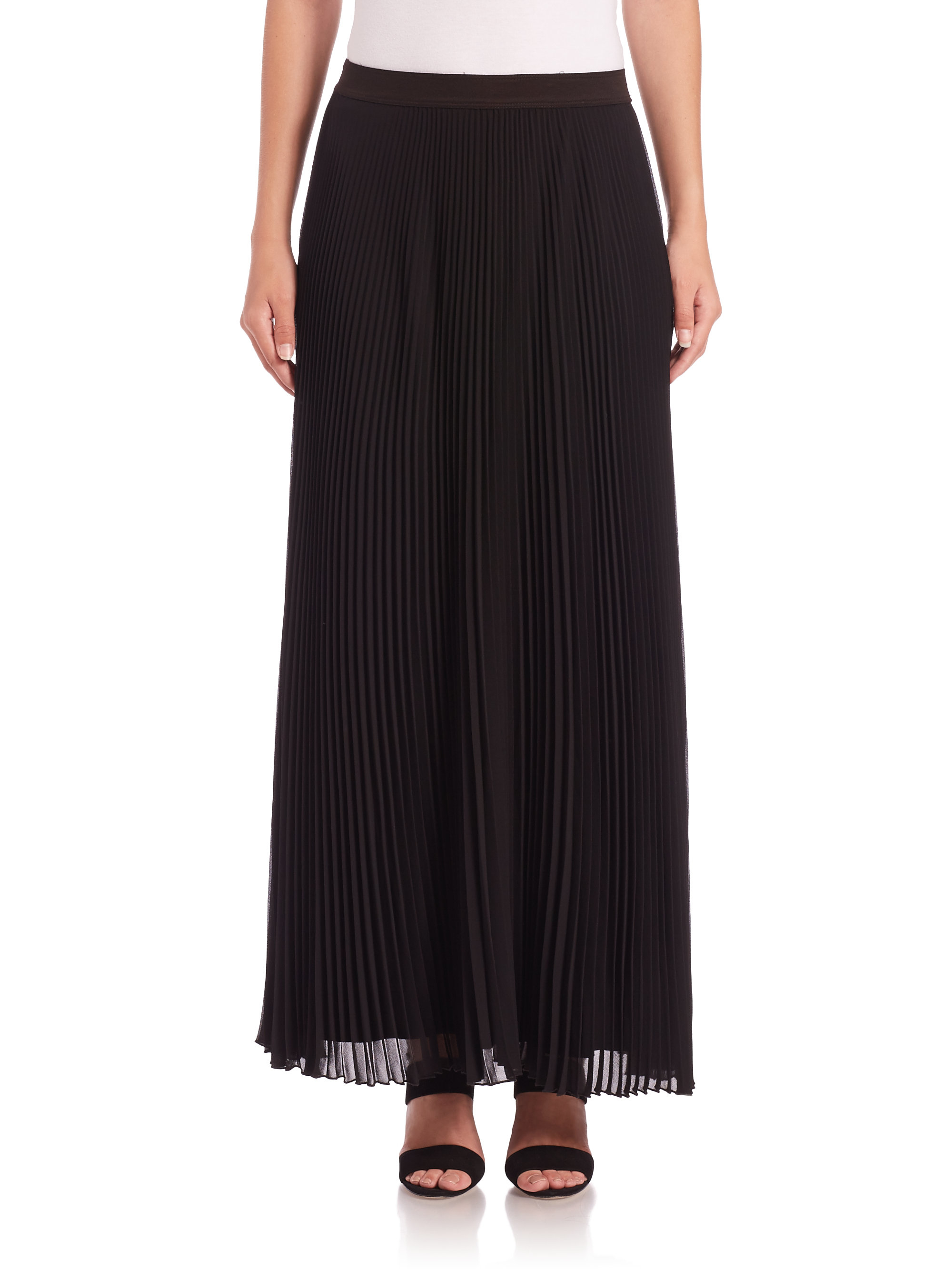 bailey 44 waltz with a swing pleated maxi skirt in black