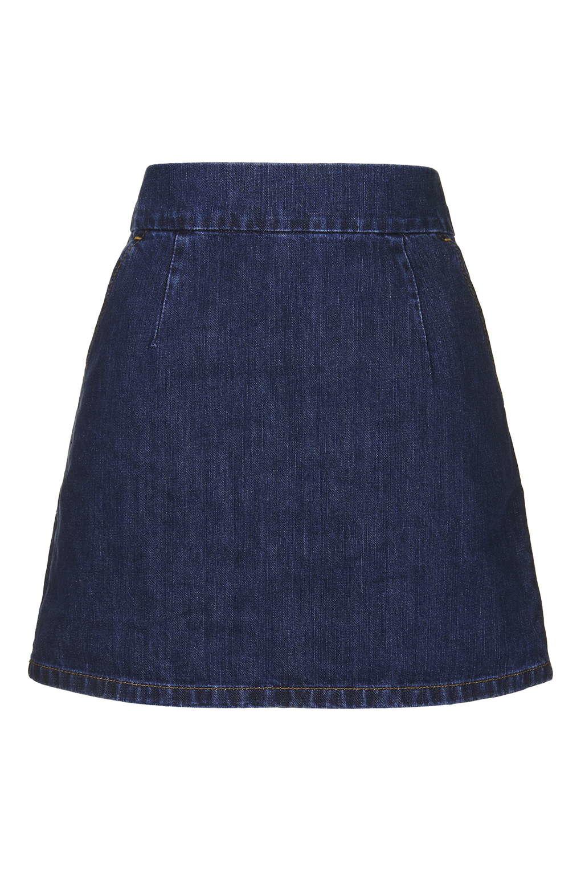 topshop moto indigo clean a line skirt in blue lyst