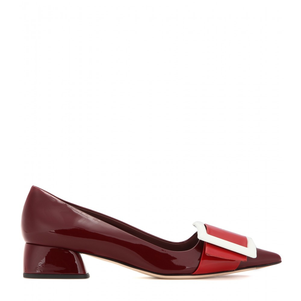 Miu Miu Buckle-Detailed Patent-Leather Pumps in Red - Lyst ed9ef62a8ce1
