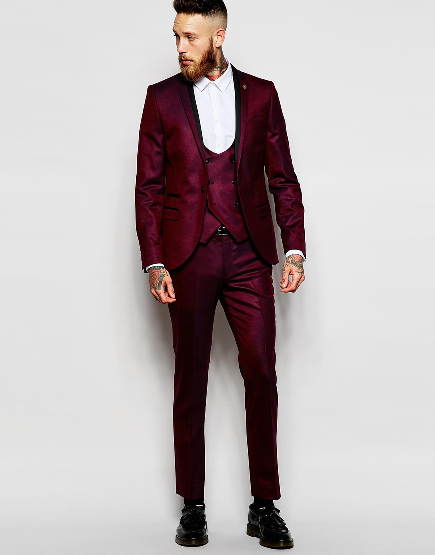 Burgundy Skinny Suit | My Dress Tip