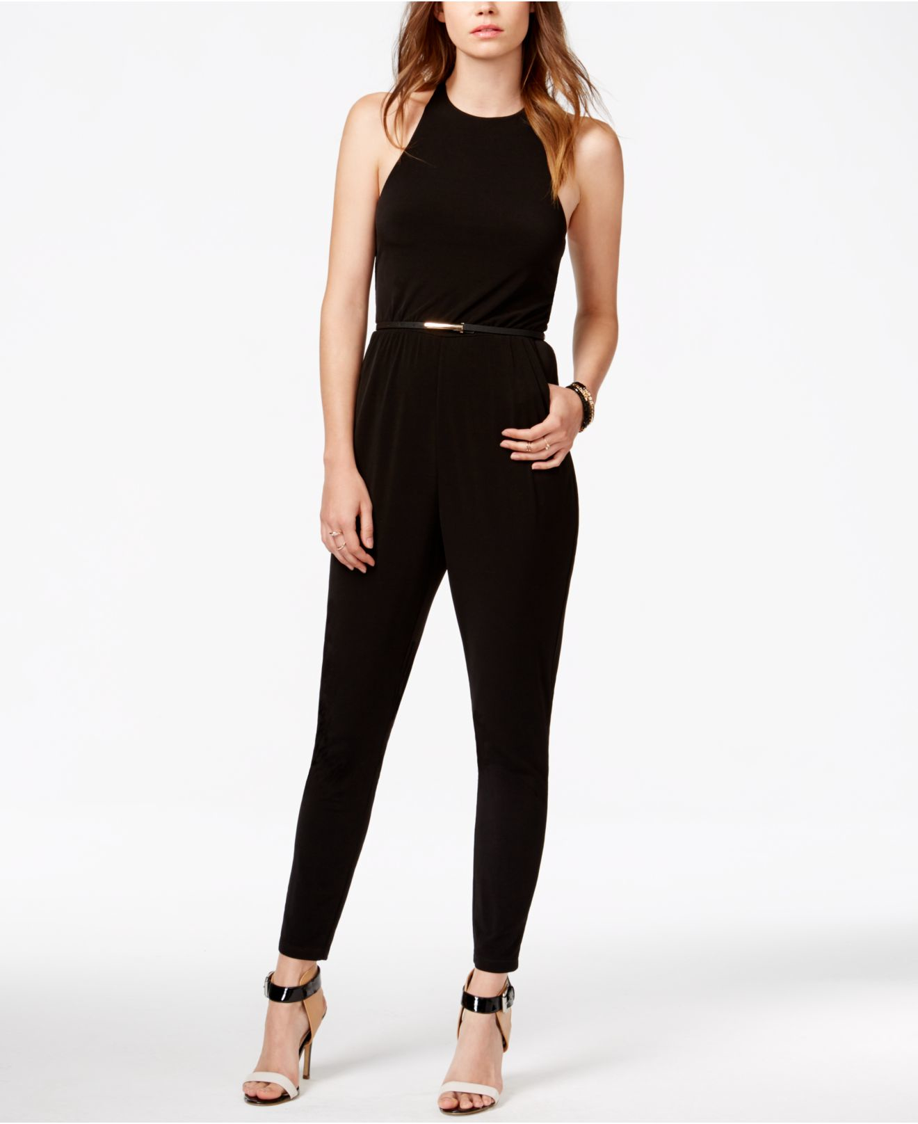 69c726e9ce5e Lyst - Guess Sleeveless Belted Jumpsuit in Black