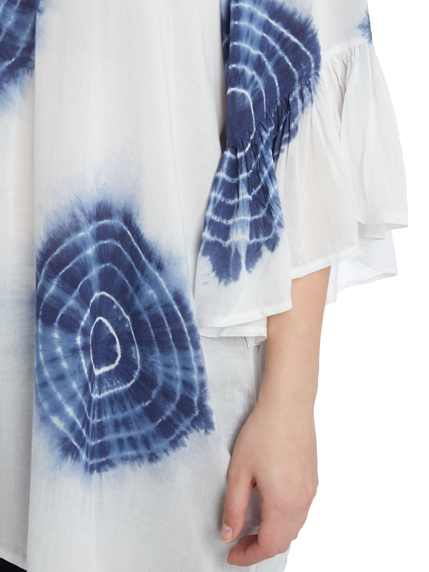 Samya Synthetic Water Coloured Printed Top in Blue