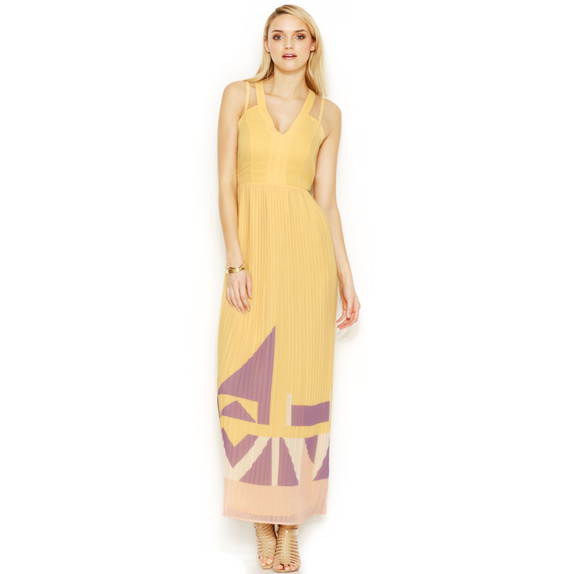French connection Printed Maxi Dress in Yellow | Lyst