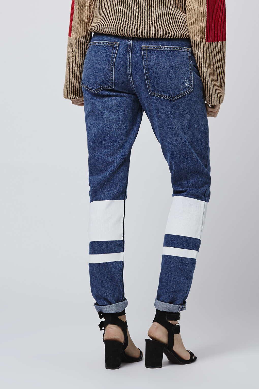 TOPSHOP Denim Moto Stripe Hem Hayden Boyfriend Jeans in Indigo (White)