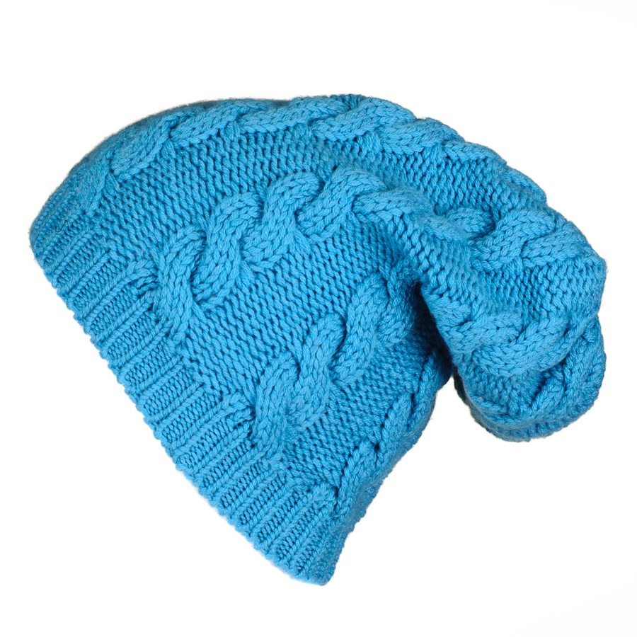 Black.co.uk Turquoise Cable Knit Cashmere Slouch Beanie in ...