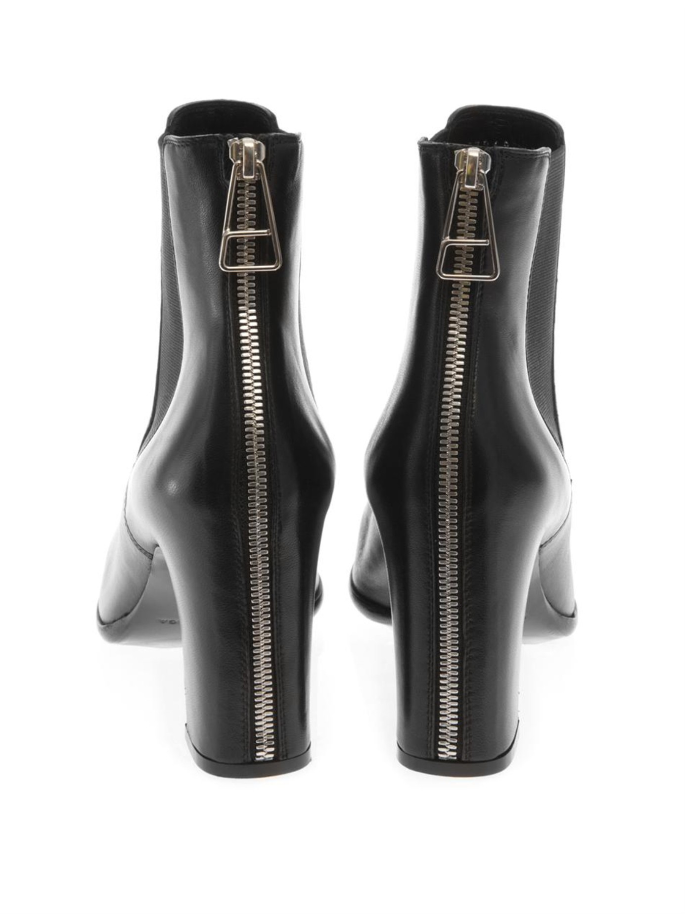 Zip,Back Leather Ankle Boots