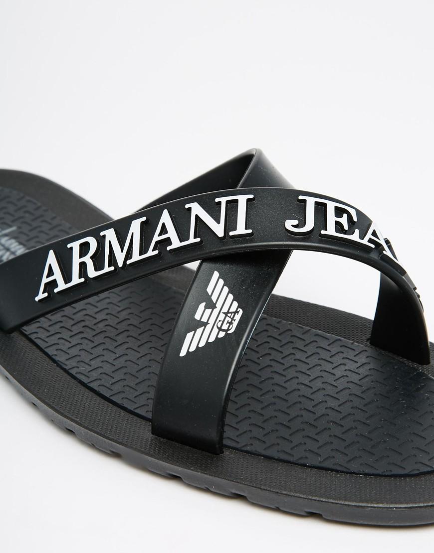 Lyst Armani Jeans Logo Cross Over Flip Flops In Black