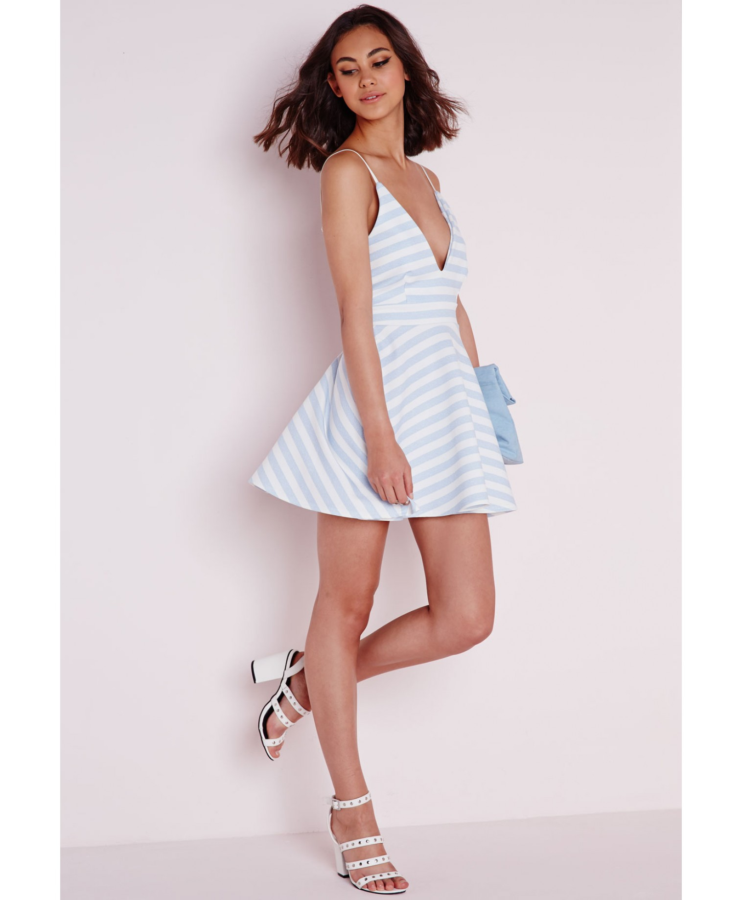 0a96c99c28 Lyst - Missguided Plunge Skater Dress Pale Blue Stripe in Blue
