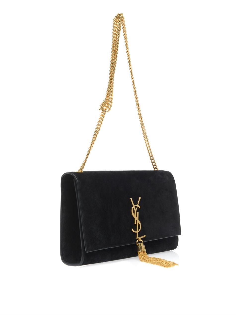 lyst saint laurent cassandre tassel medium shoulder bag in black. Black Bedroom Furniture Sets. Home Design Ideas