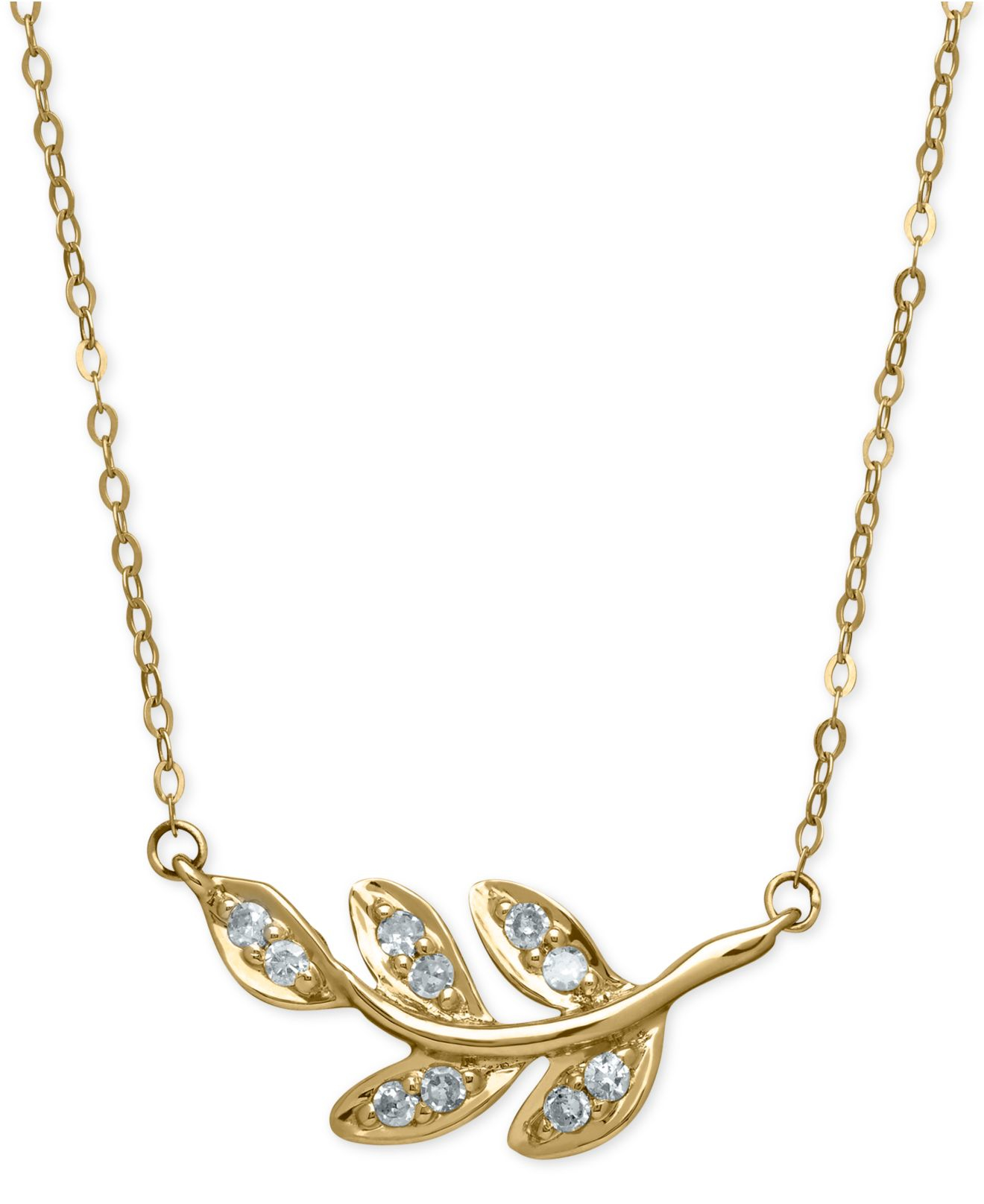 macy s leaf pendant necklace 1 10 ct t w in