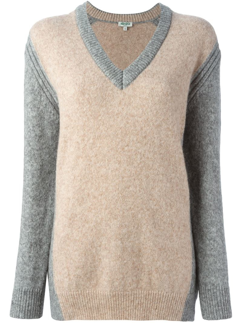 kenzo v neck sweater in gray lyst. Black Bedroom Furniture Sets. Home Design Ideas