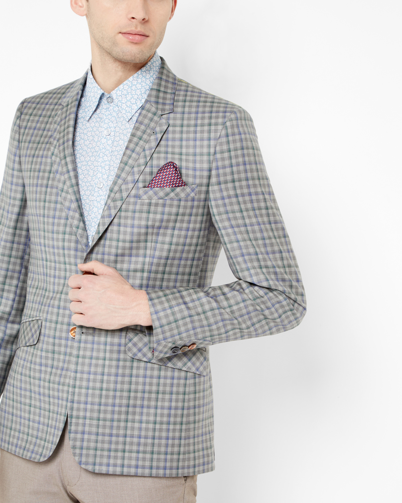 c74803b5d Lyst - Ted Baker Tight Lines Checked Wool Blazer in Gray for Men