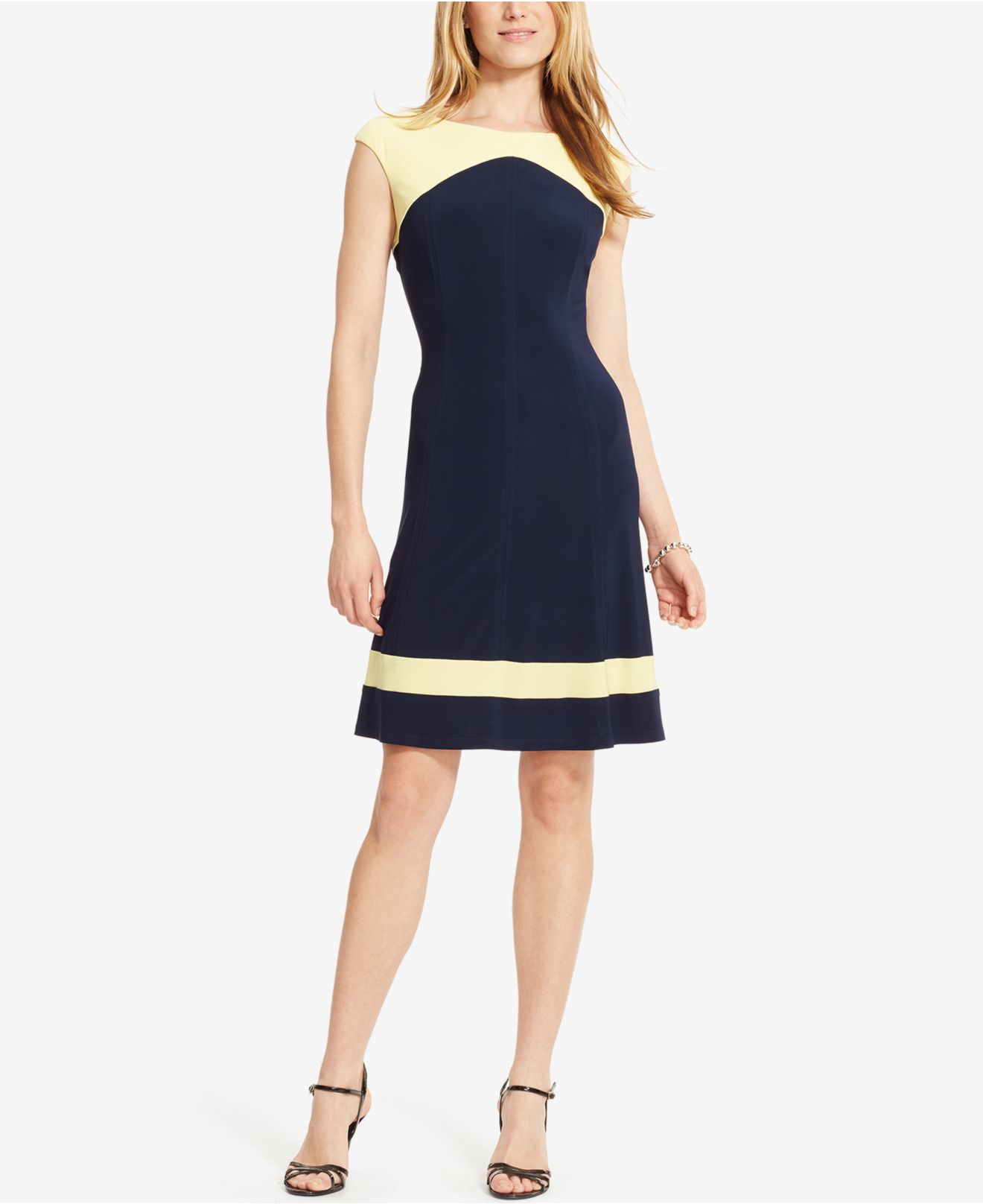 American Living Colorblocked Jersey Dress In Blue Capri