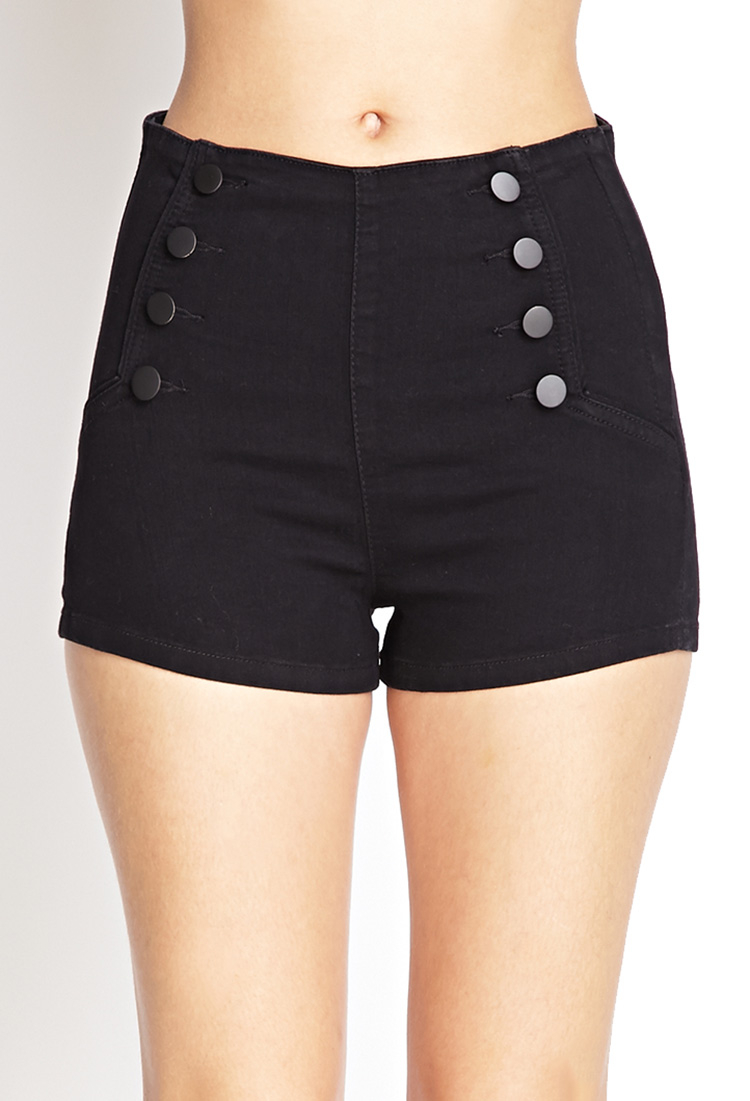 forever 21 high waisted matelot denim shorts in black lyst. Black Bedroom Furniture Sets. Home Design Ideas