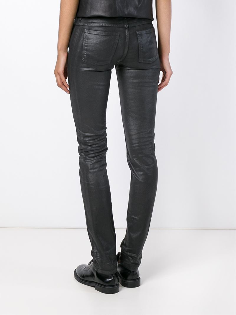 Diesel black gold Skinny Fit Shiny Jeans in Black | Lyst