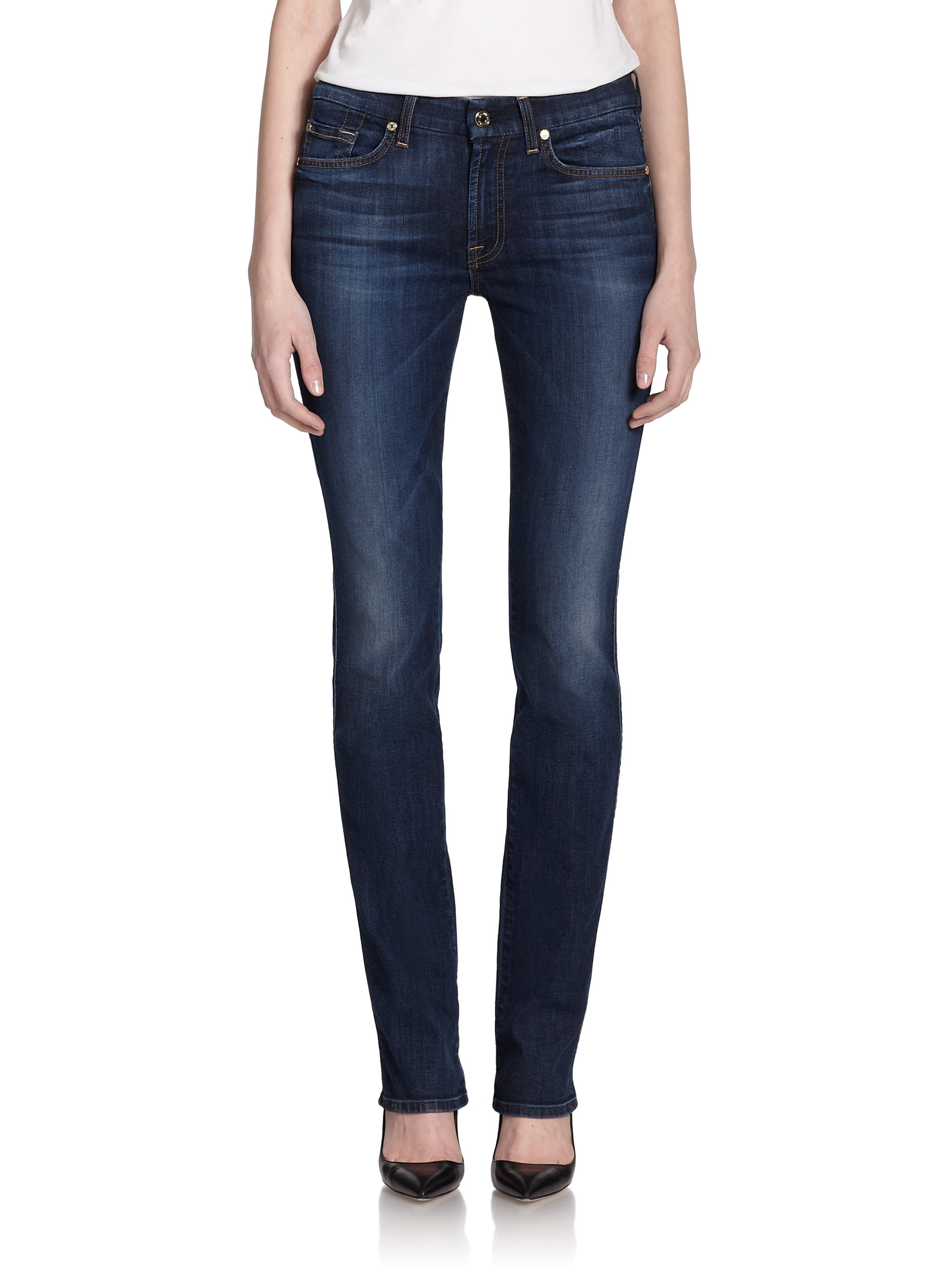 7 for all mankind Kimmie Straight-Leg Jeans in Blue | Lyst