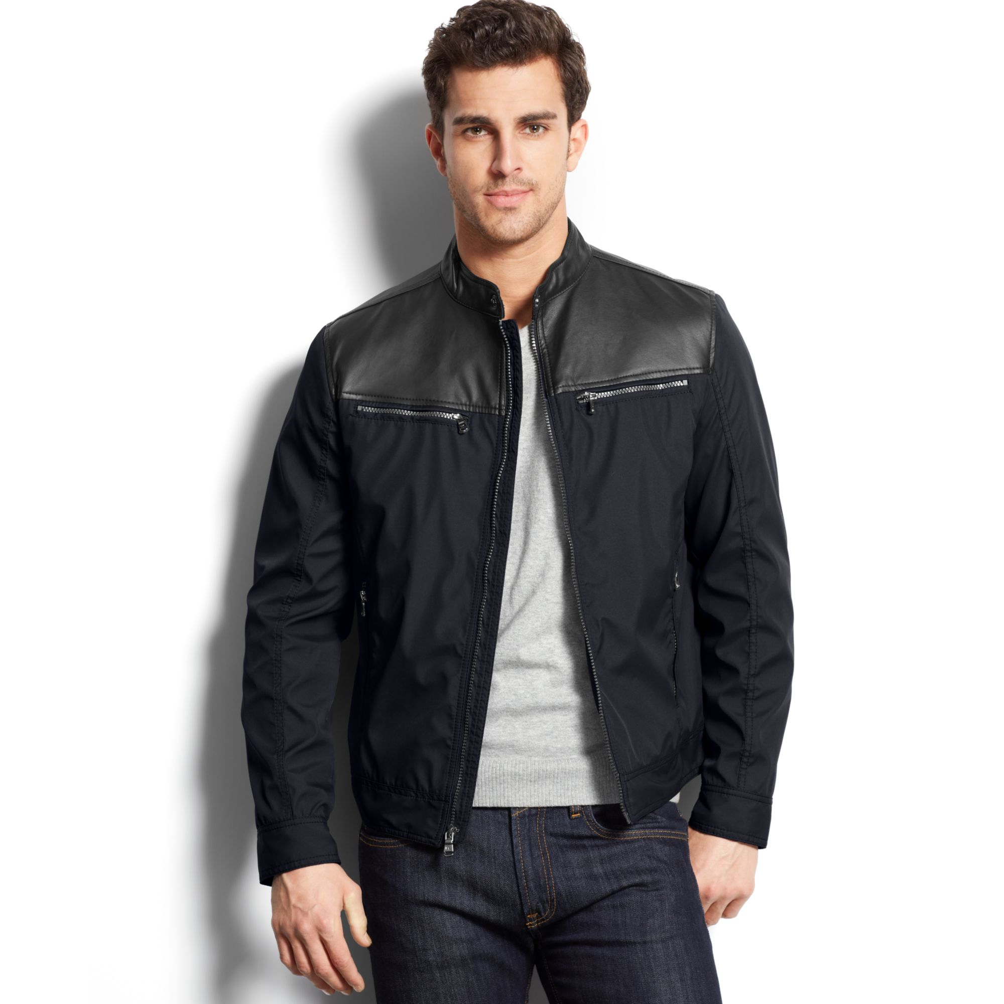 Michael by michael kors leather bomber jacket