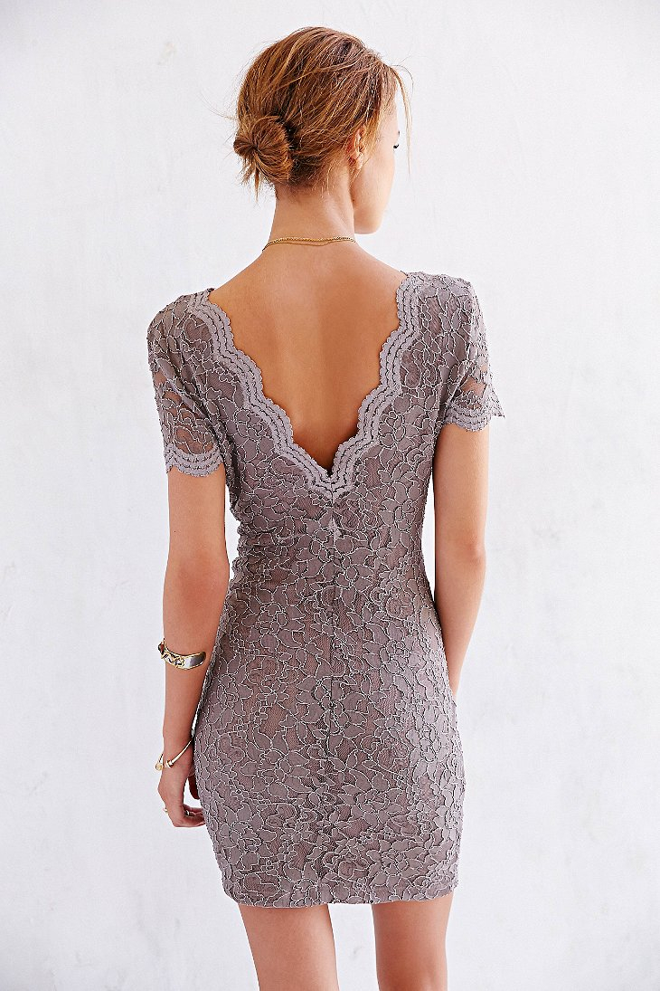 Kimchi Blue Scallop Lace Bodycon Dress In Taupe Brown Lyst