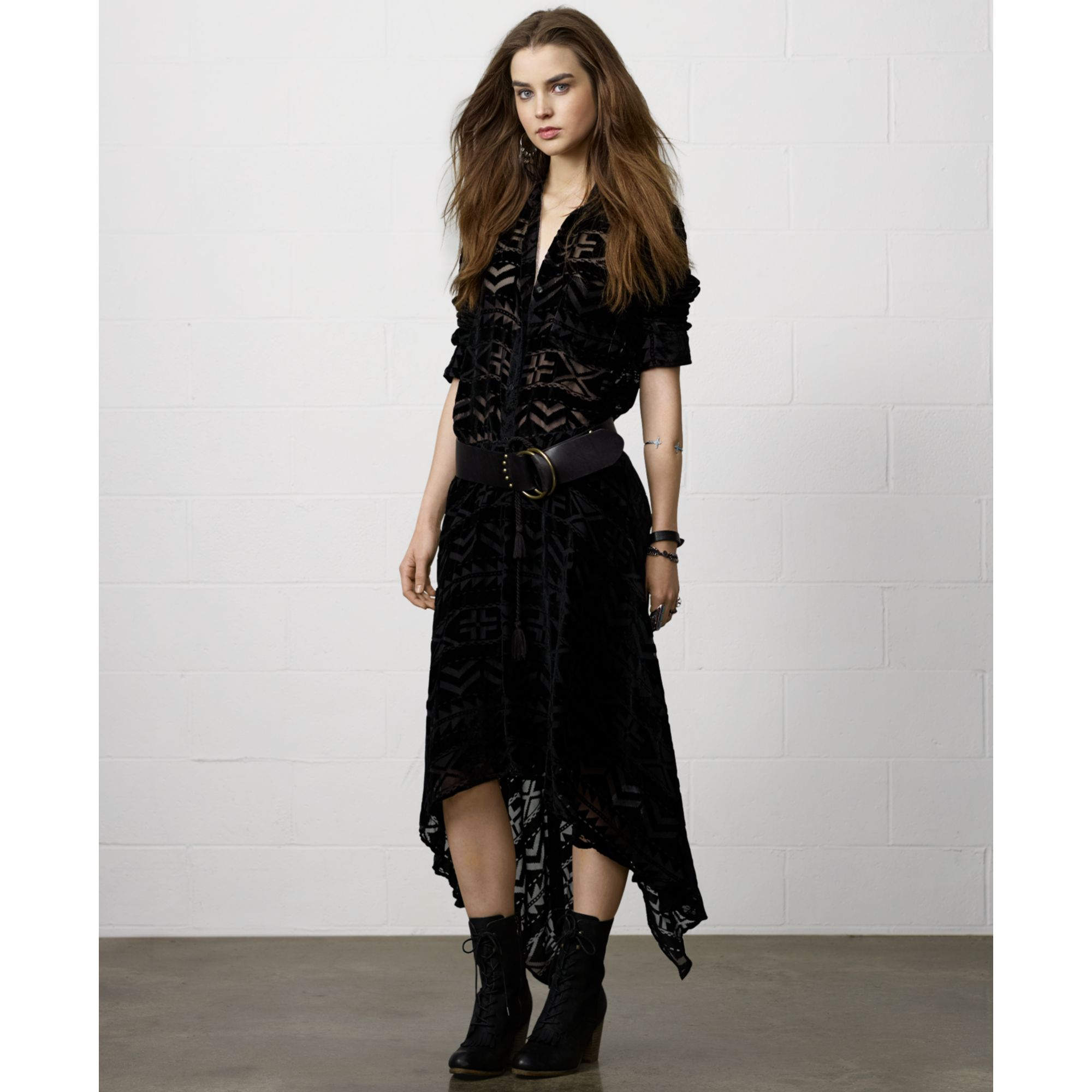 Denim \\u0026amp; supply ralph lauren Long-sleeve Tribal pattern Burnout Shirt in Black