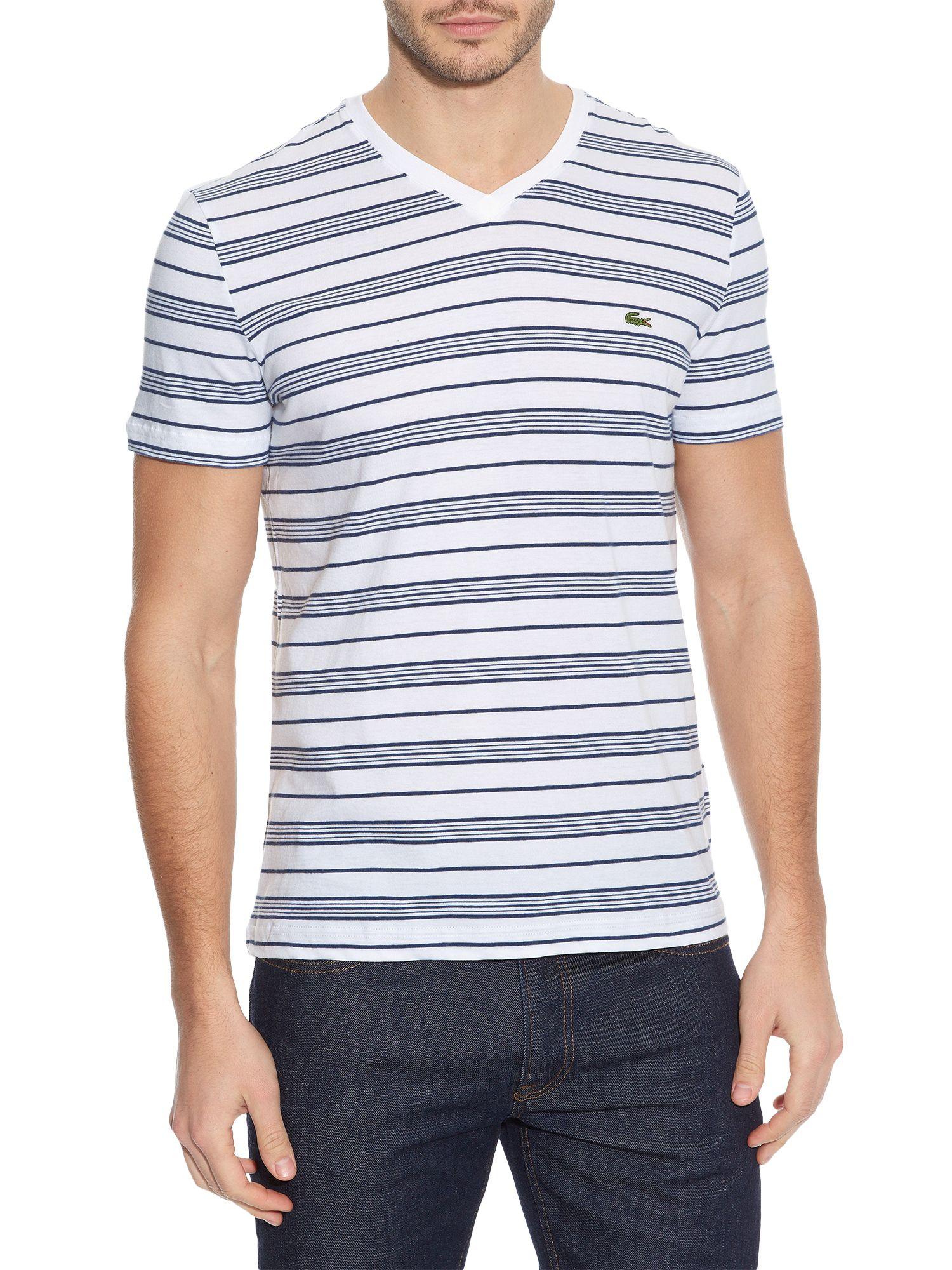 lacoste stripe v neck regular fit t shirt in white for men. Black Bedroom Furniture Sets. Home Design Ideas