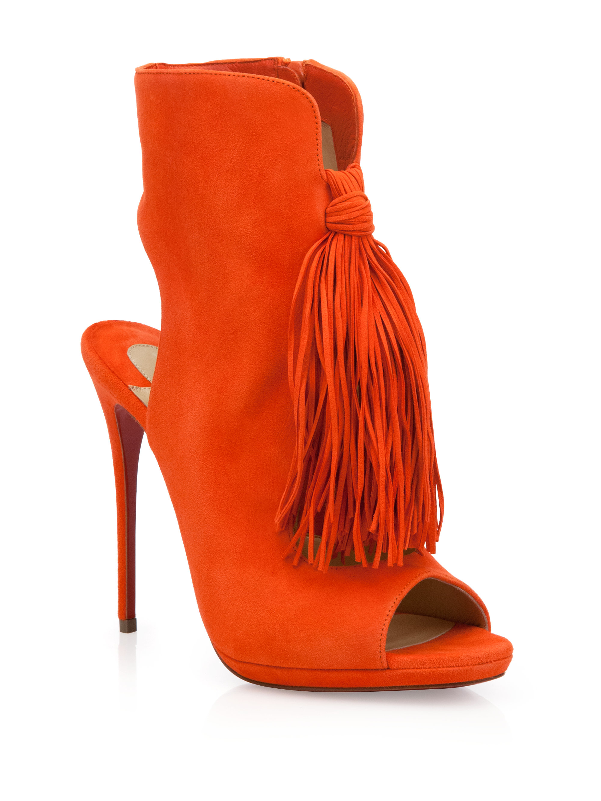 Christian Louboutin Red Fringed Suede Peep Toe Booties