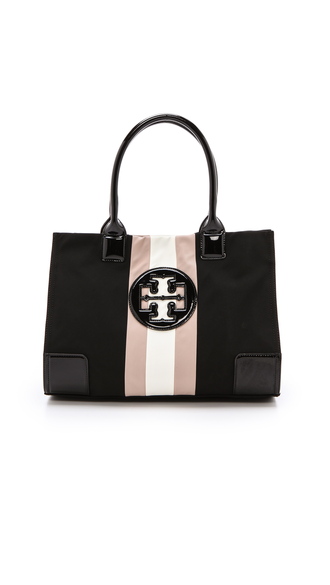 15a45a7d797 Lyst - Tory Burch Ella Mini Striped Tote Blackblushivory in Black