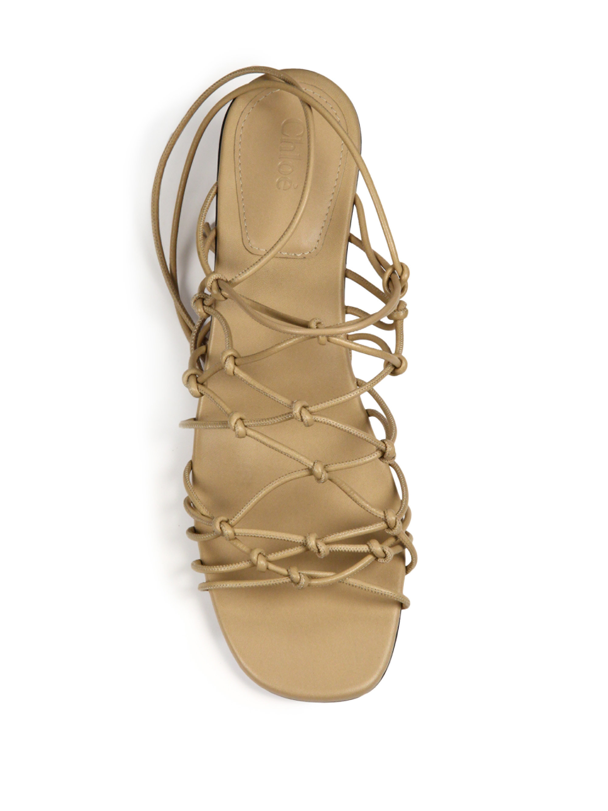 eb71d4b9209 Chloé Natural Knotted Leather Lace-up Block-heel Sandals