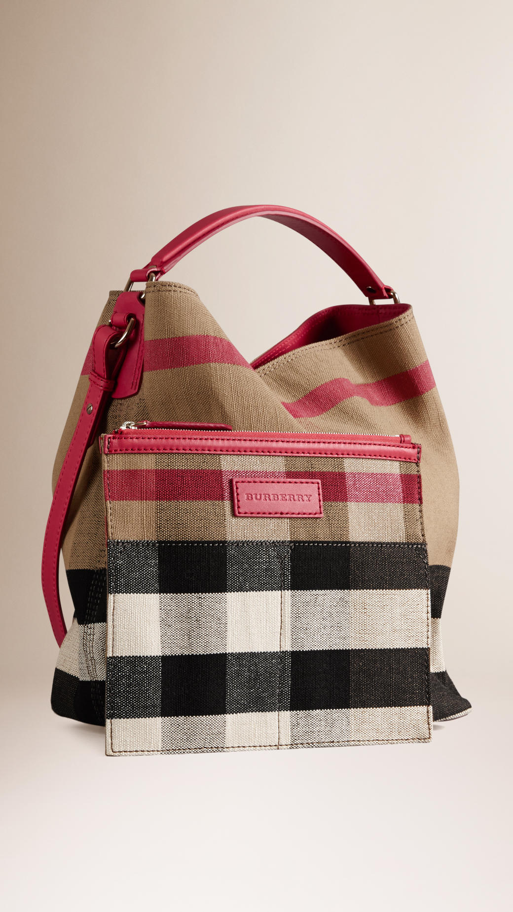 9c572cbcee36 Lyst - Burberry The Medium Ashby Canvas Check And Leather Bag in Pink