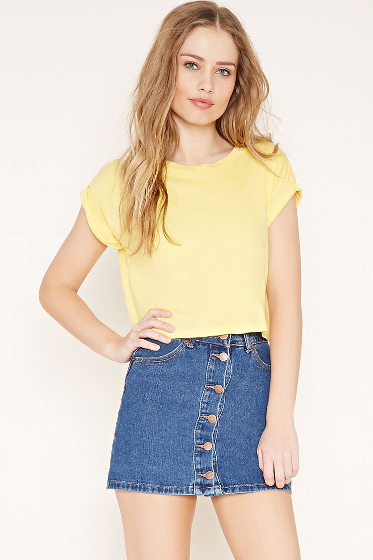 Forever 21 Cuffed Crop Top In Yellow Lyst