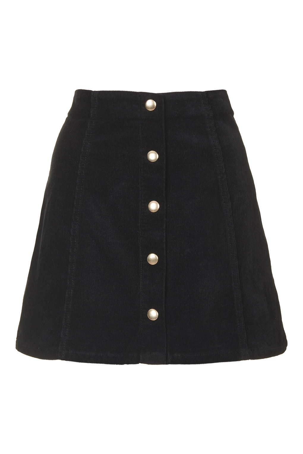 Topshop Cord Popper A-line Skirt in Black | Lyst