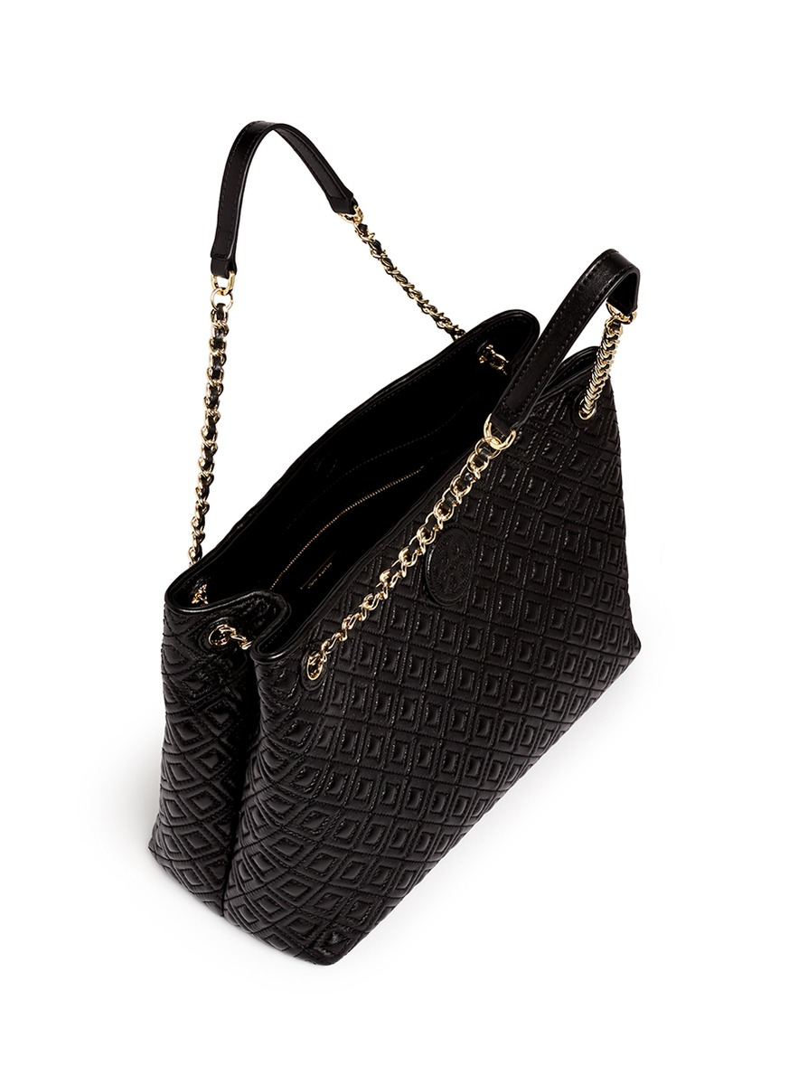 Tory Burch Marion Quilted Leather Tote In Black Lyst