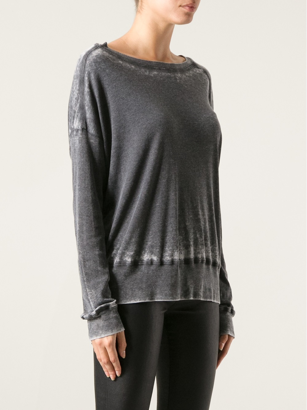 Lyst raquel allegra distressed t shirt in gray for How to make a distressed shirt