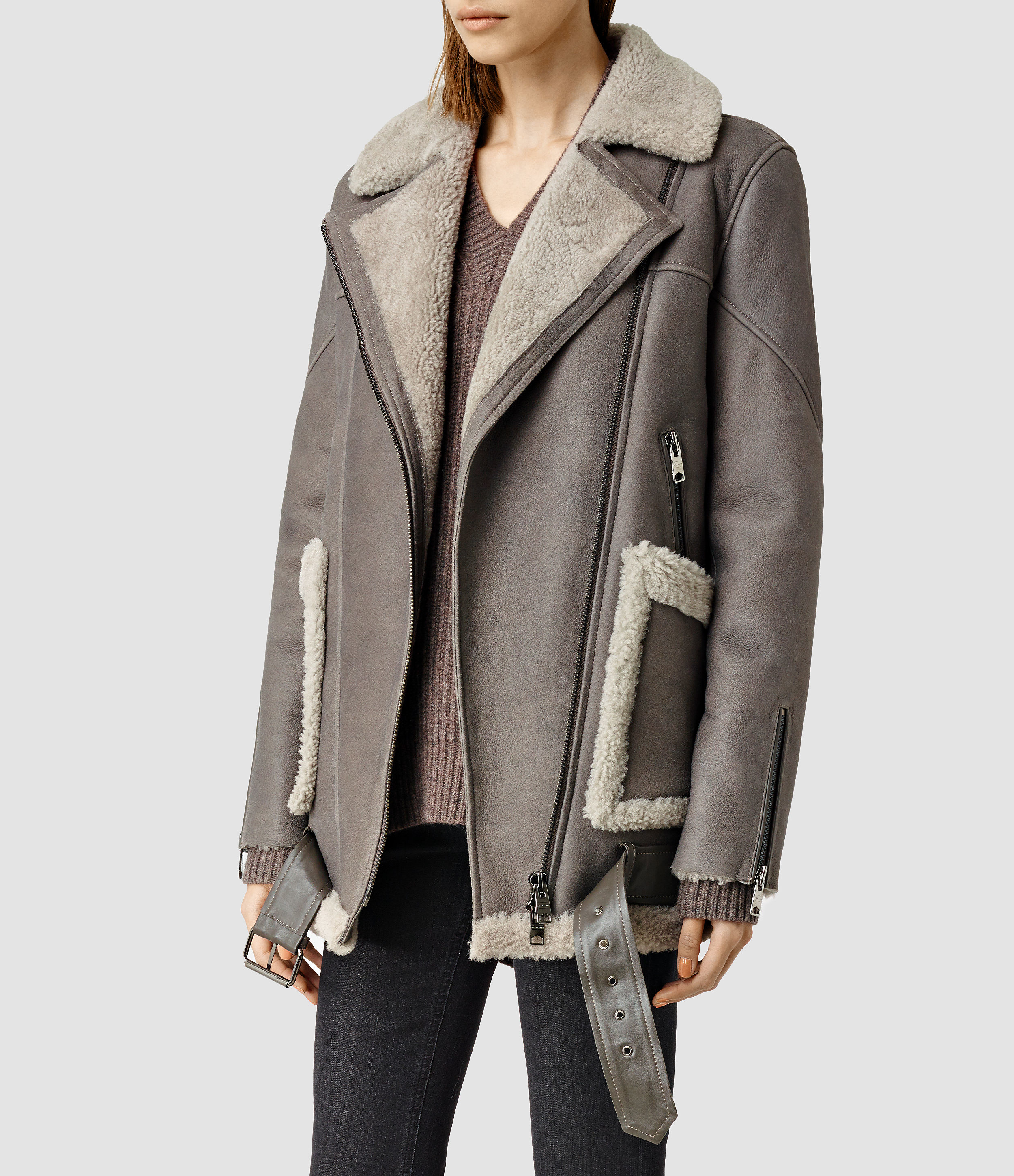 Allsaints Beck Shearling Jacket in Gray | Lyst