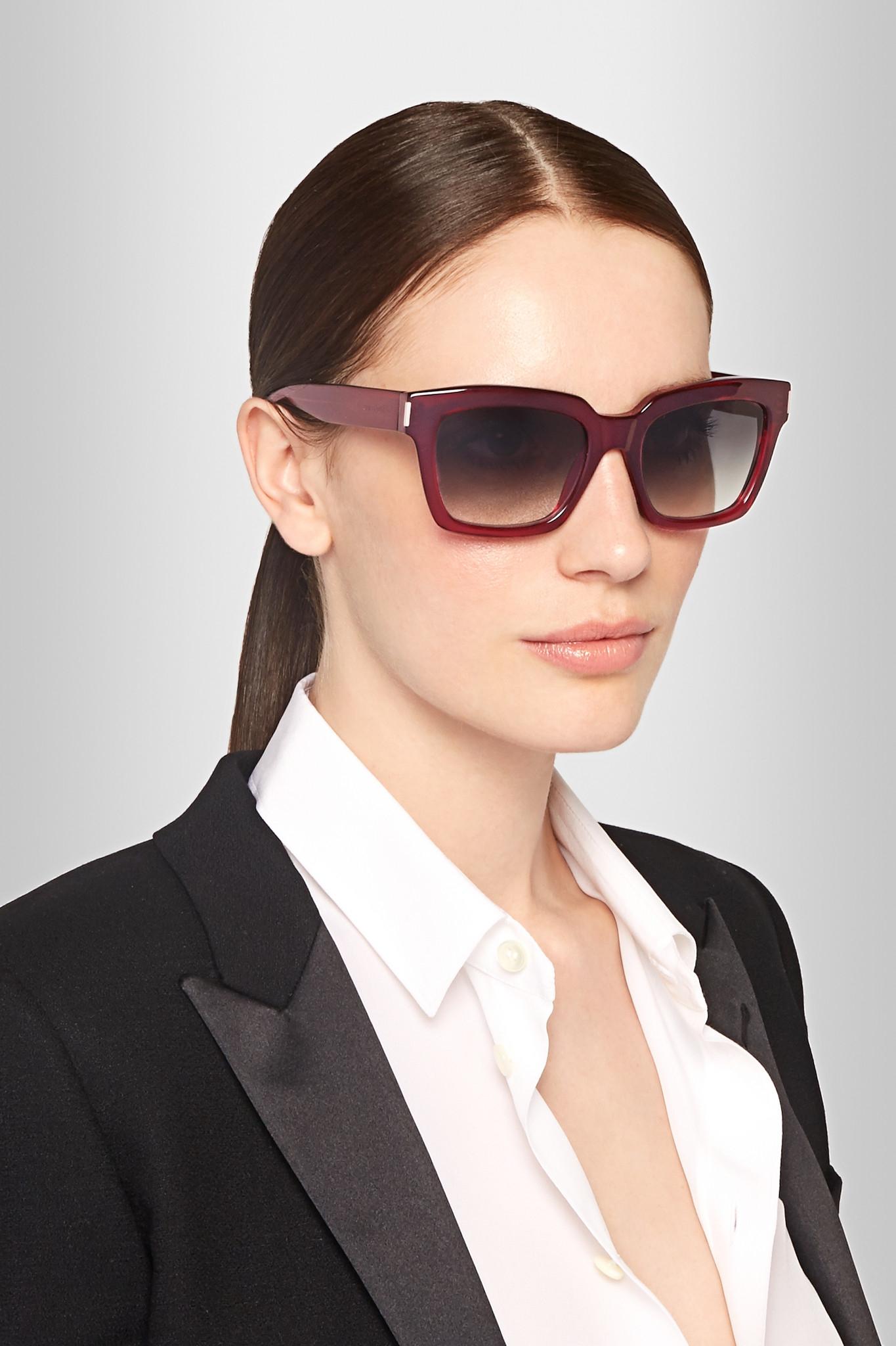 2276c66203 Saint Laurent Bold D-frame Acetate Sunglasses in Red - Lyst