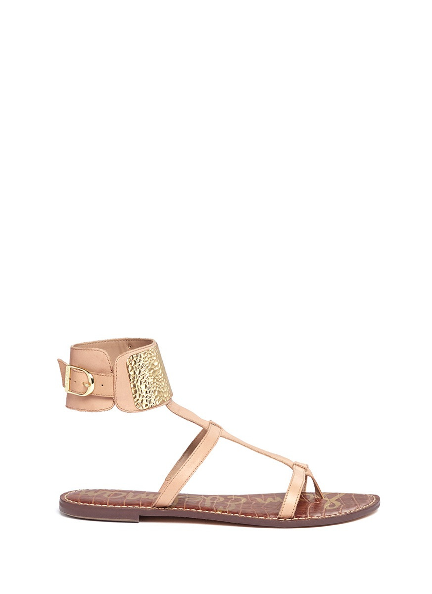fabe44dac5f2 Lyst - Sam Edelman Genette Metal Ankle Cuff Leather Sandals in Natural