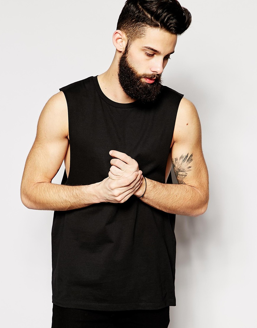 Asos Sleeveless T Shirt With Dropped Armhole In Black For