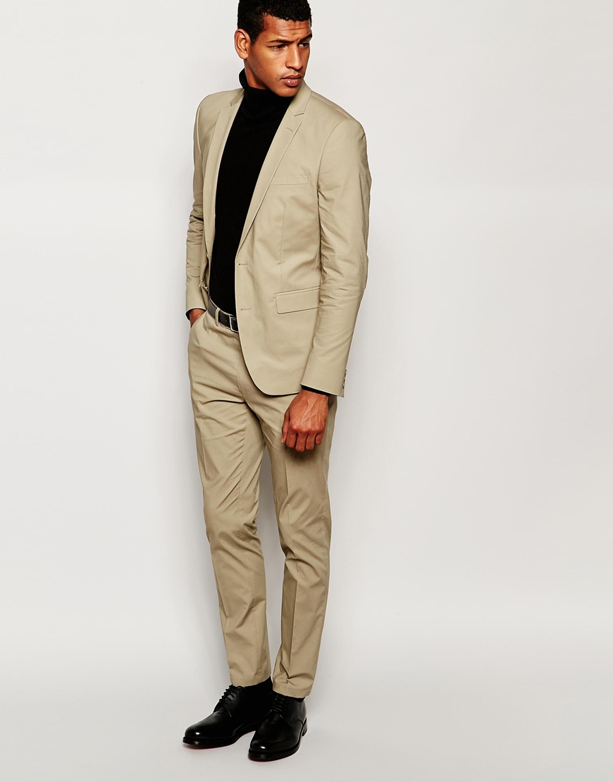 66d08da8fac2a Asos Wedding Skinny Suit Jacket In Poplin In Stone in .