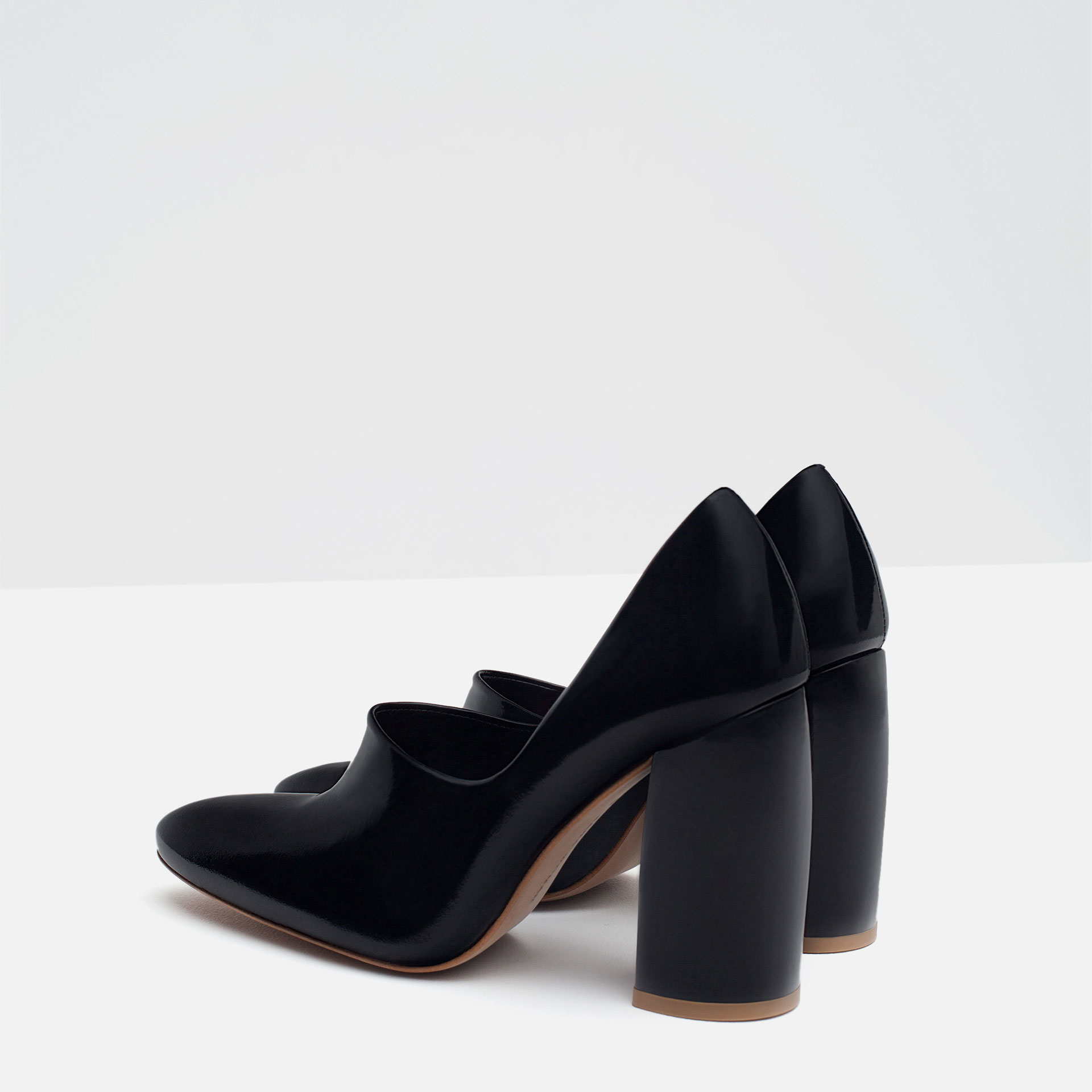 zara block heel leather shoes in black lyst